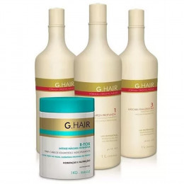 Kit Escova Progressiva Alemã 3x1000ml G Hair  + Btox White 1kg