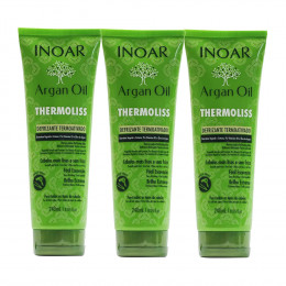 Kit C/3 Inoar Argan Oil Thermoliss Defrizante Termoativado 240ml